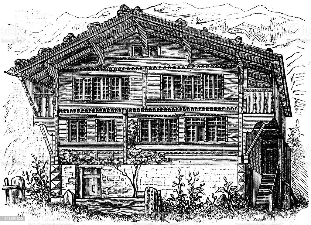 Farm house Switzerland vector art illustration