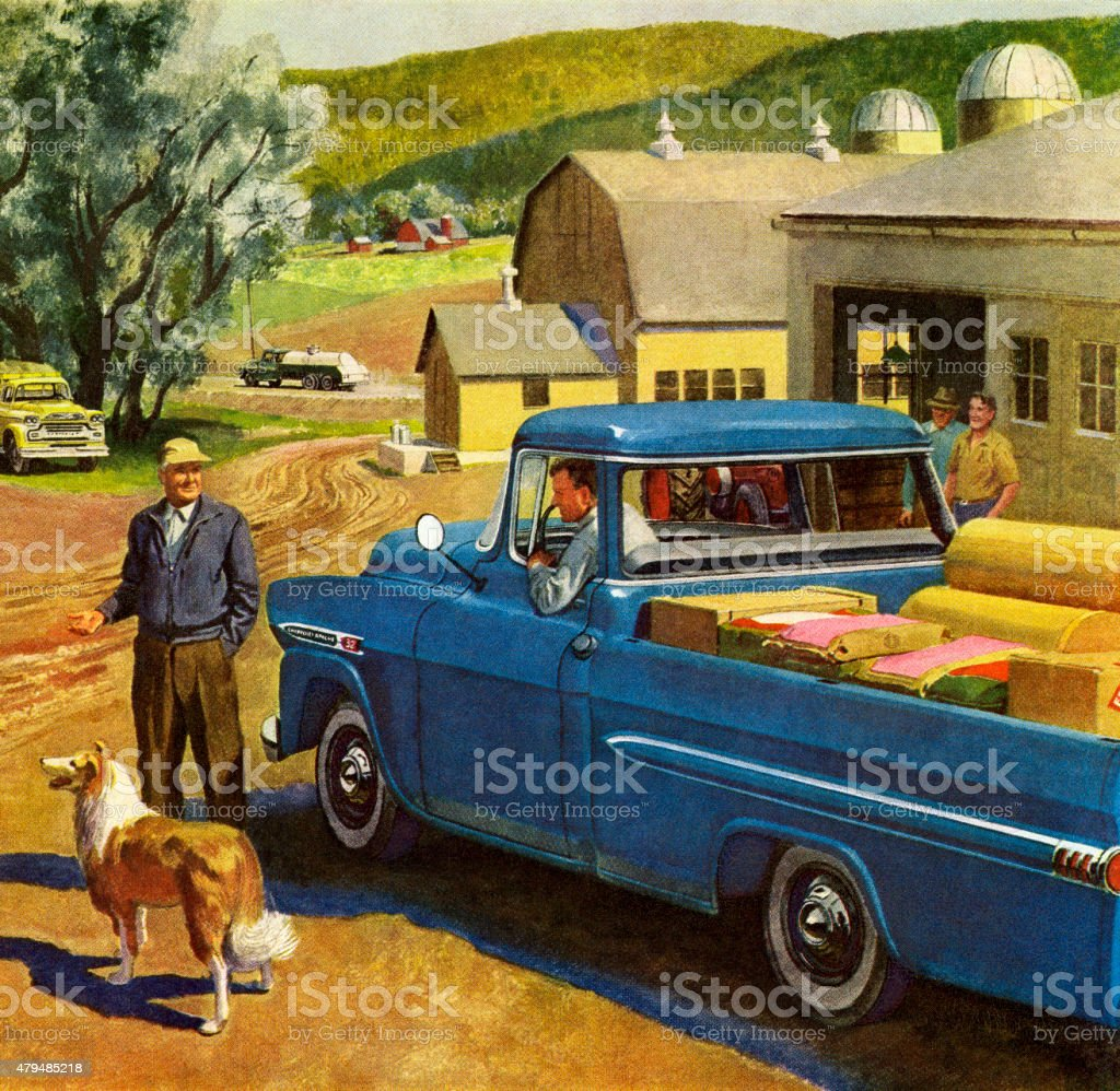 Farm Scene With Blue Vintage Truck vector art illustration