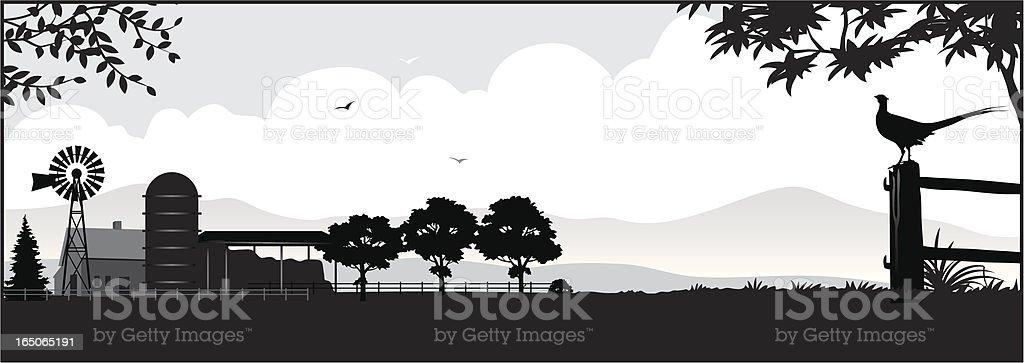 Farm silhouette vector art illustration