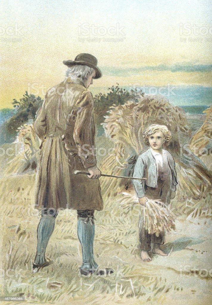 Farmer accosting a small boy who is stealing corn vector art illustration