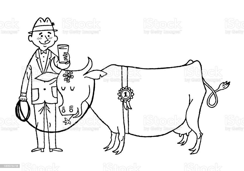 Farmer and His First Place Cow royalty-free stock vector art