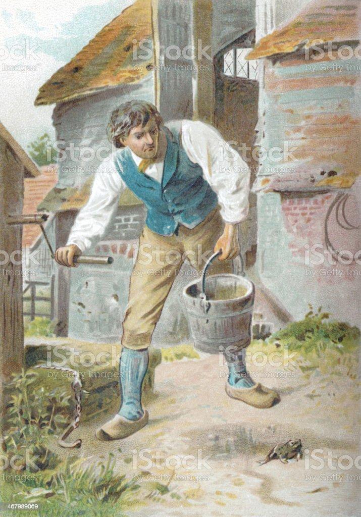 Farmer at a well vector art illustration