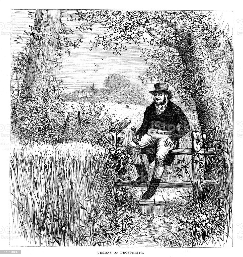 Farmer in top hat sitting on fence from 1880 journal vector art illustration