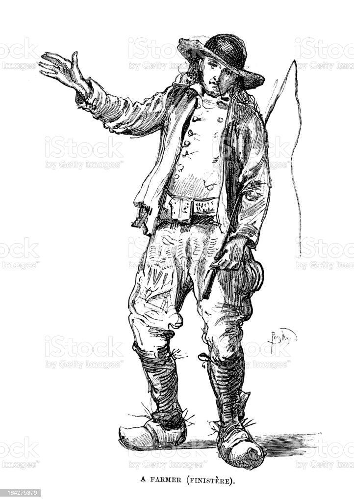 Farmer of Finistere vector art illustration