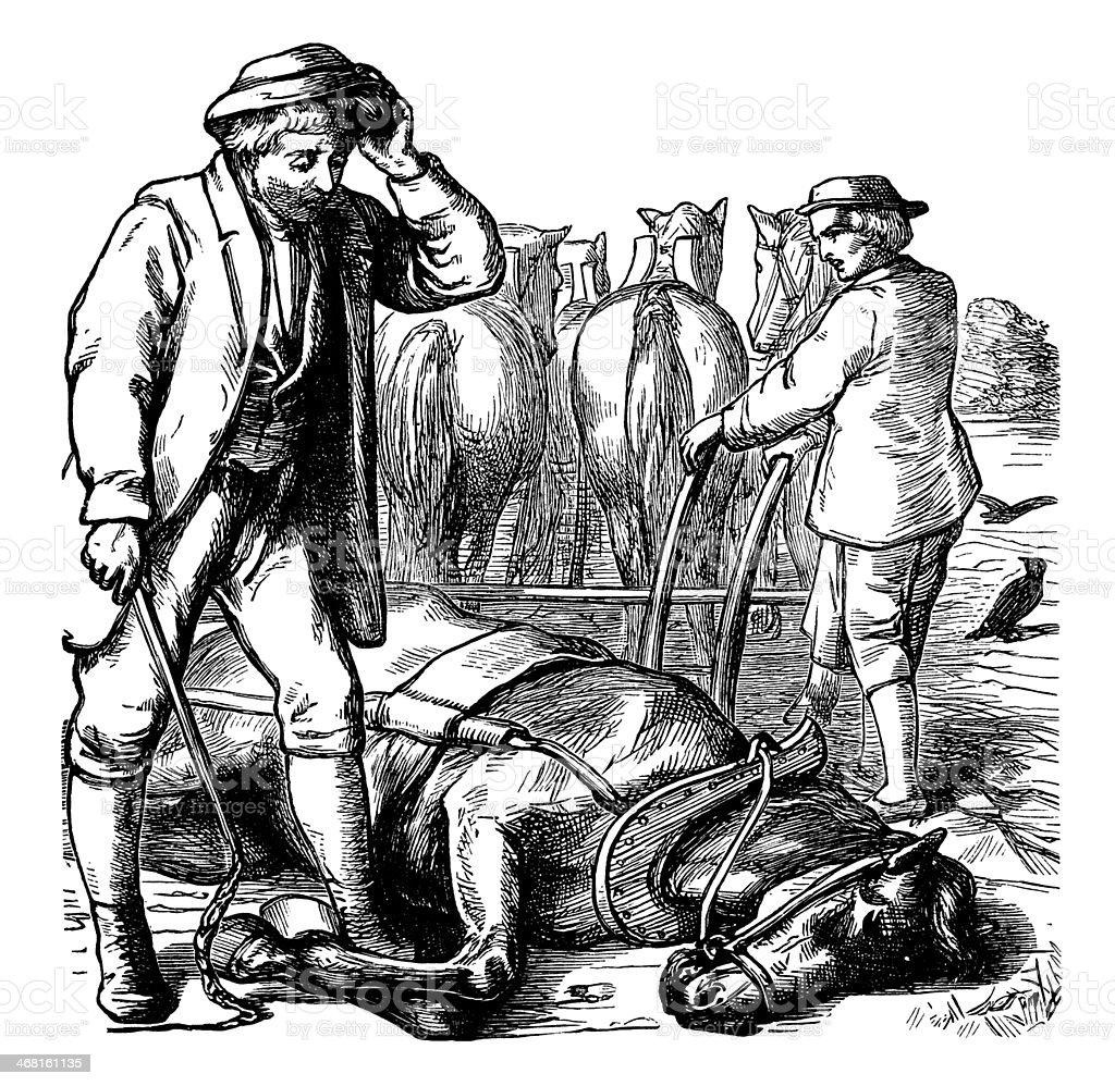 Farmer with a dead horse vector art illustration