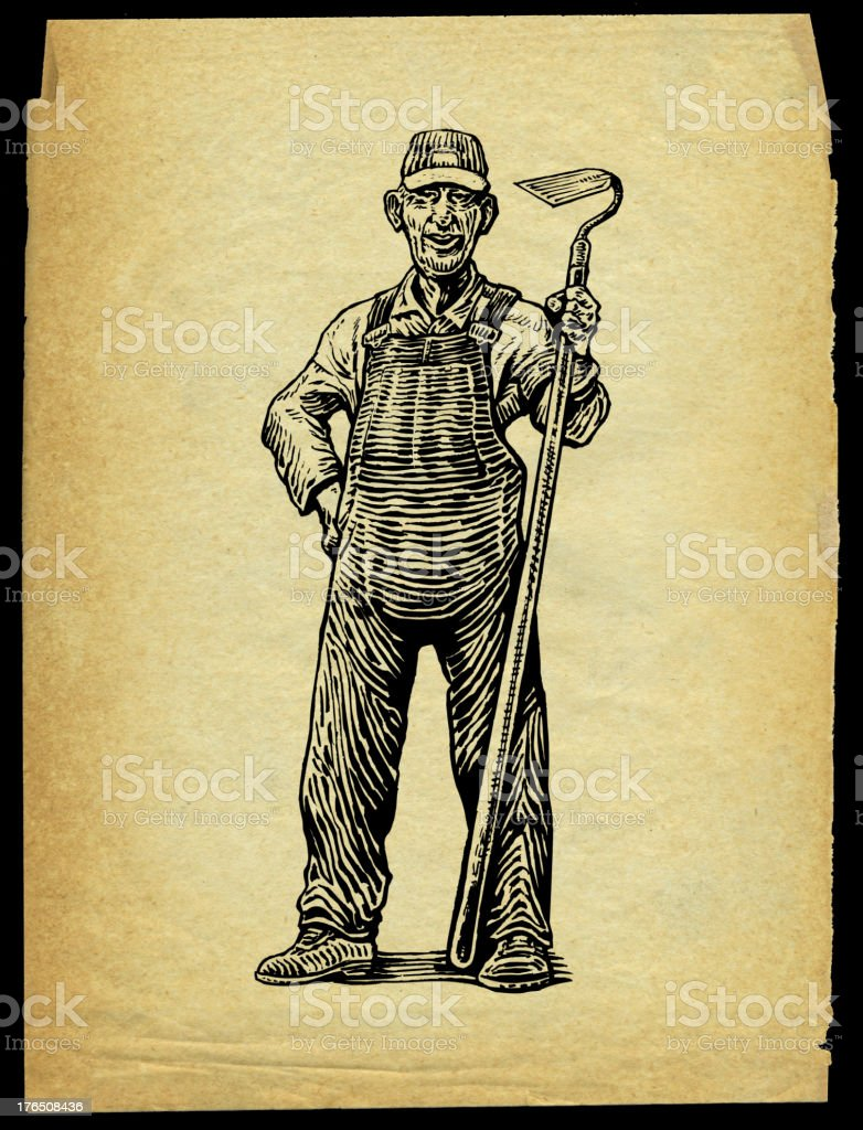 Farmer with Hoe - Agriculture vector art illustration