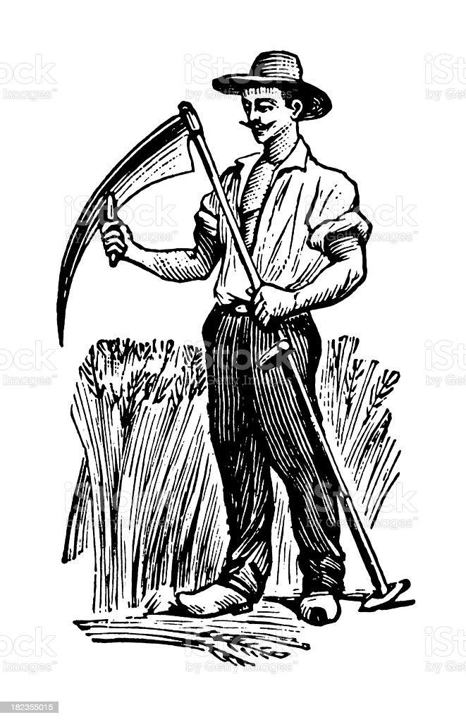 Farmers | Antique Design Illustrations vector art illustration