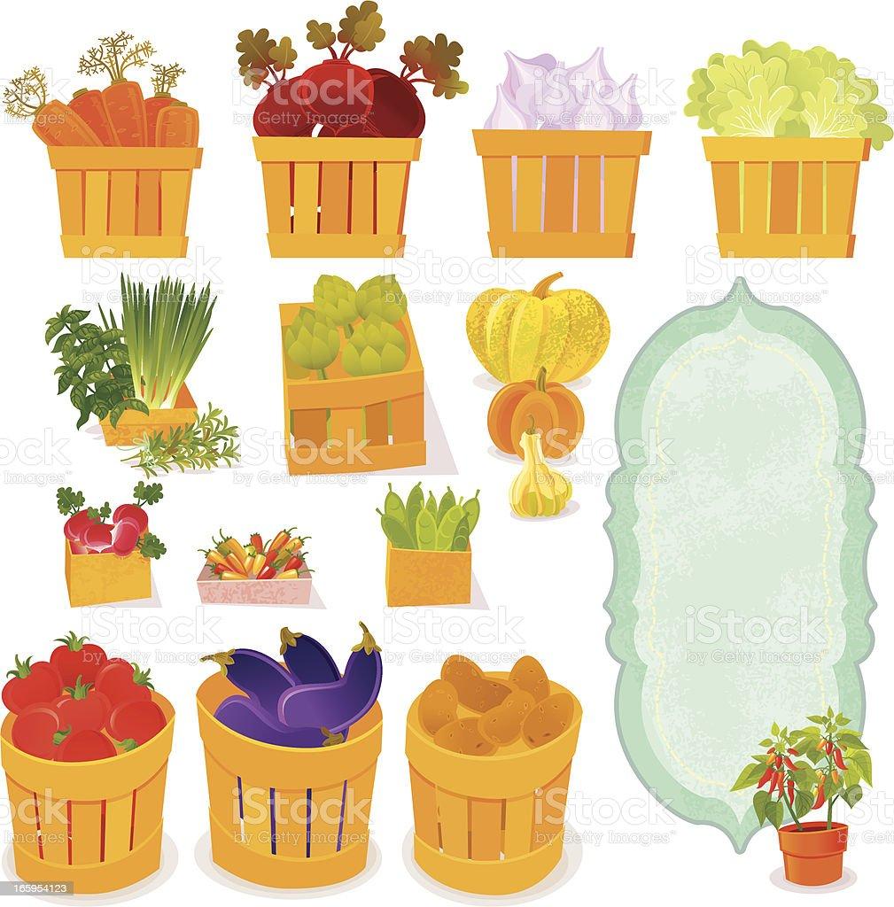 Farmer's Vegetables vector art illustration