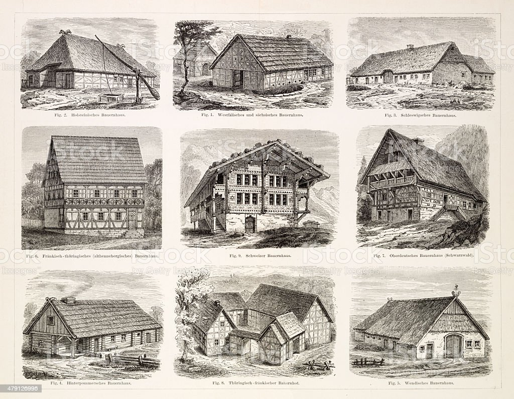 Farmhouses engraving 1895 vector art illustration