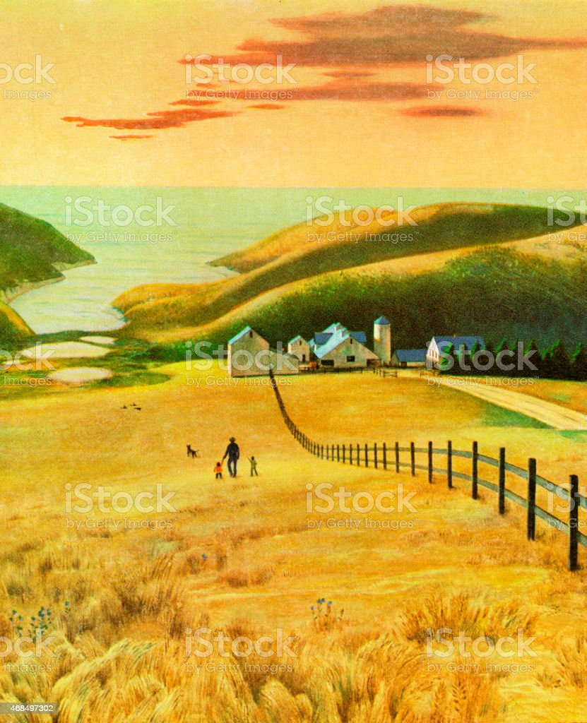 Farmland By the Sea vector art illustration