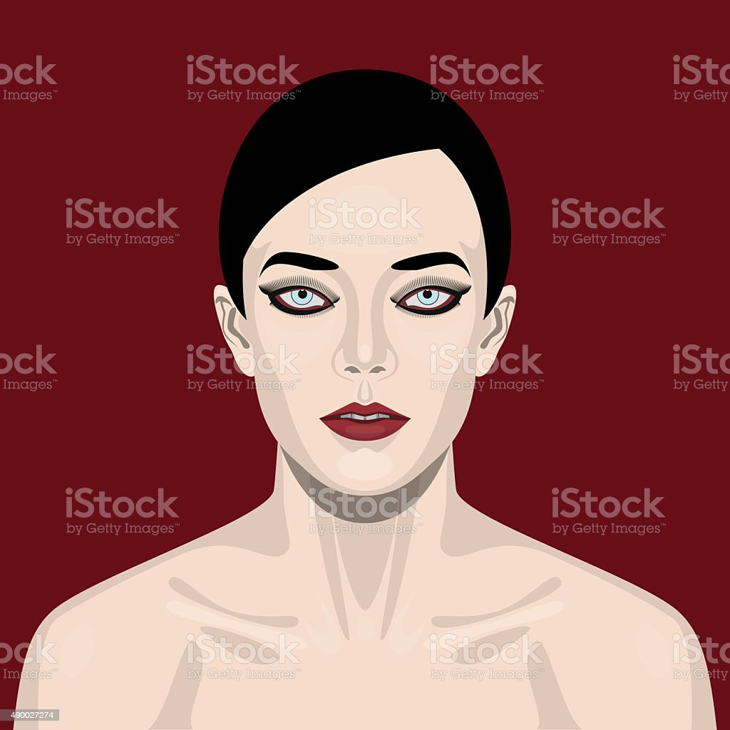 Fashion beauty Woman with smoky Eyes vector art illustration