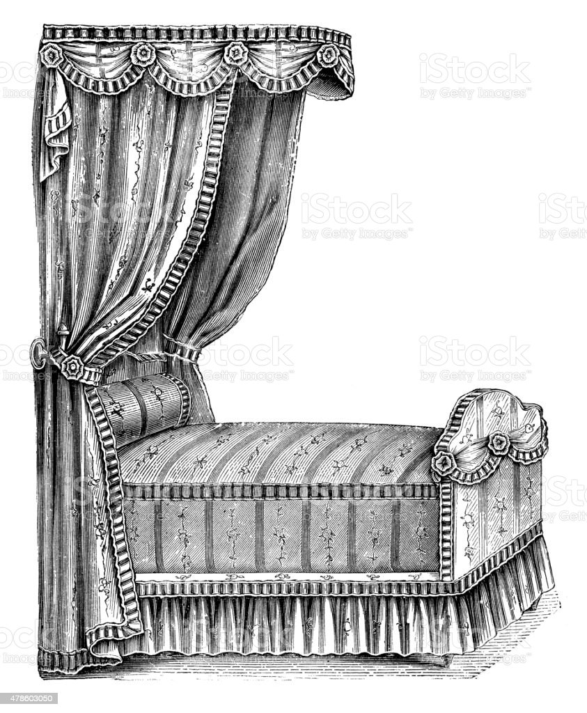 Fashion furniture from the 1800s vector art illustration