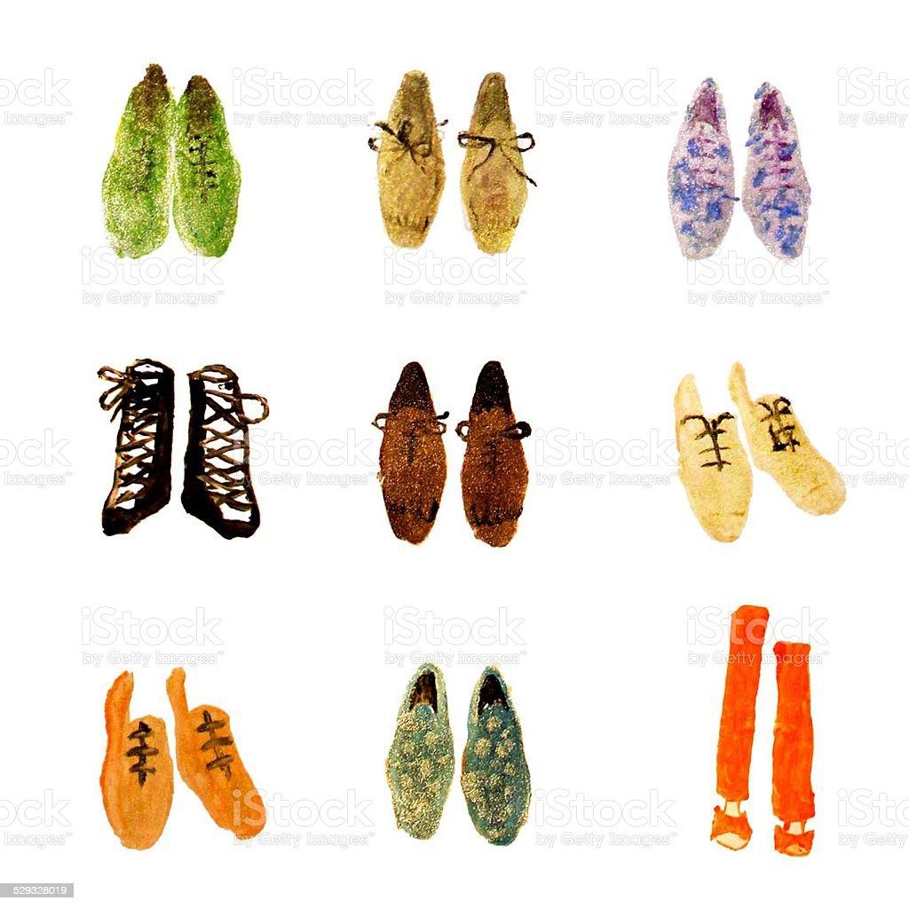 fashion illustration - flat shoes collection vector art illustration