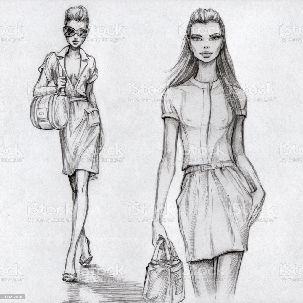 Fashion Models (black-and-white) vector art illustration