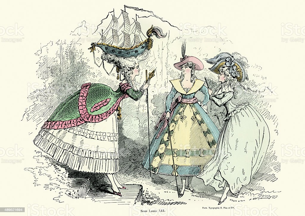 Fashion of the Louis XVI period in France stock photo