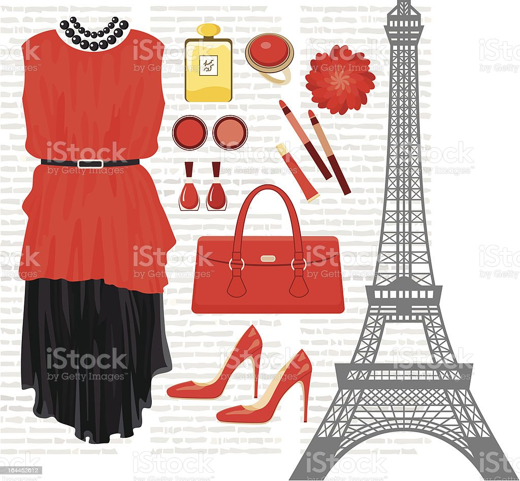 Fashion set with the Eiffel Tower royalty-free stock vector art