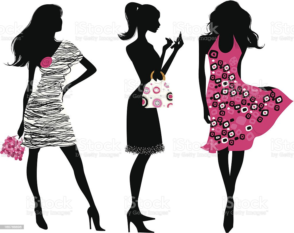 Fashion silhouettes in pink and black vector art illustration