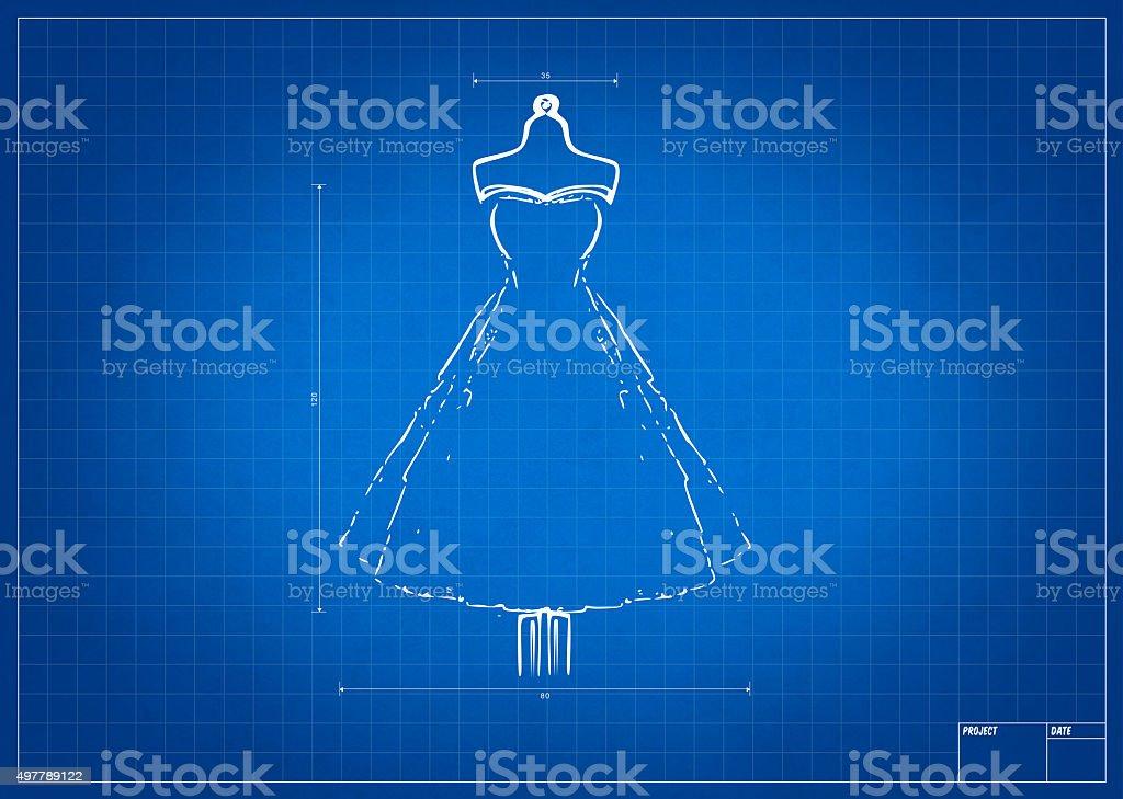 Fashion sketch on blueprint vector art illustration