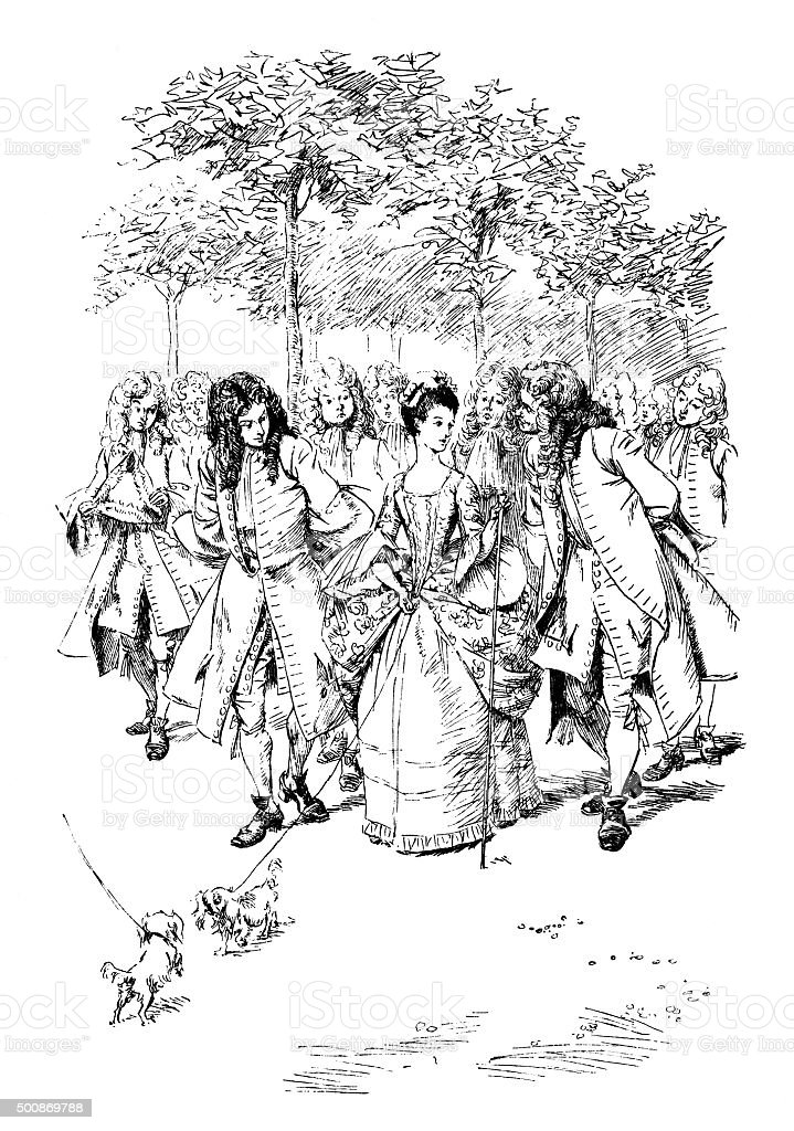 Fashionable 18th century people walking in the park vector art illustration