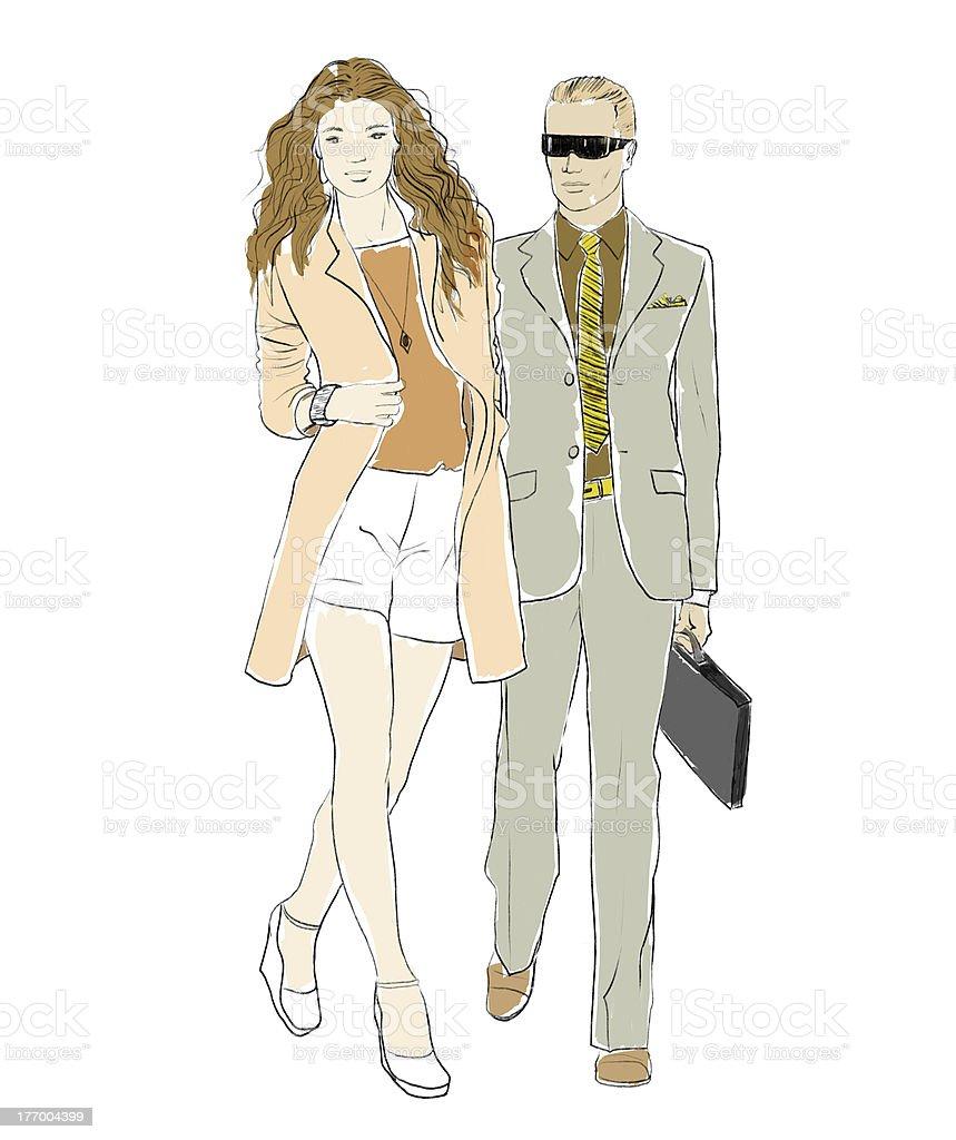 Fashionable couple royalty-free stock vector art