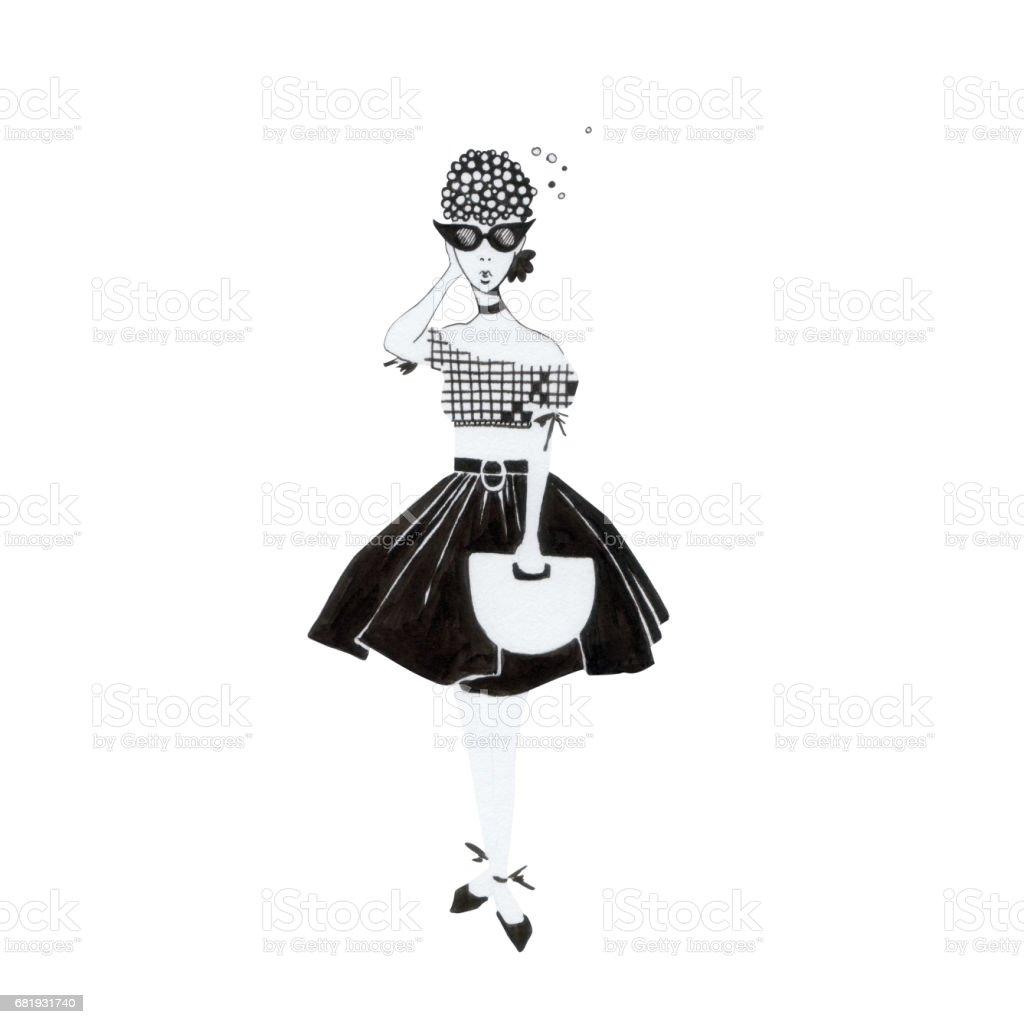 Fashionable lady in sunglasses. vector art illustration