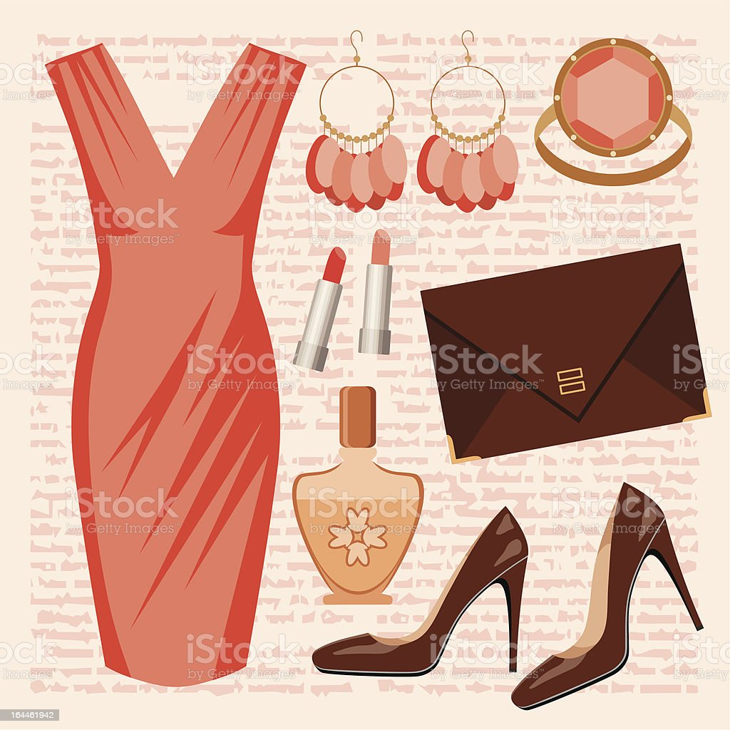 Fashionable set with a dress royalty-free stock vector art