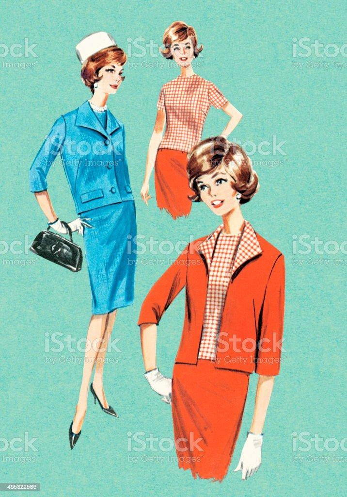 Fashionable women vector art illustration