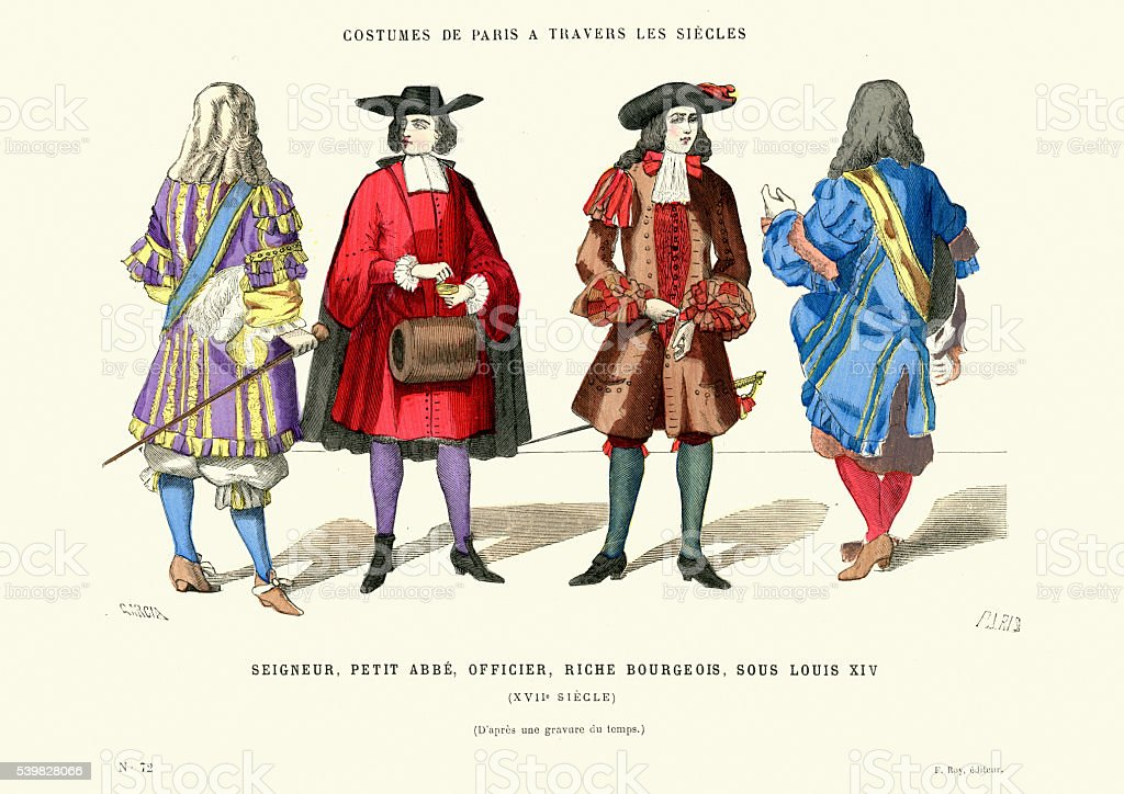 Fashions of 17th Century France vector art illustration