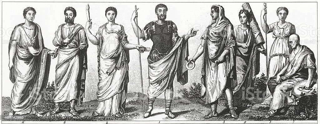 Fashions of Ancient Rome vector art illustration