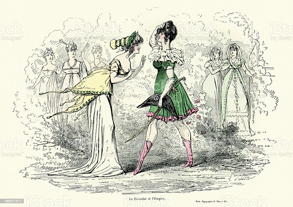 Fashions of the Consulate and Empire period in France vector art illustration