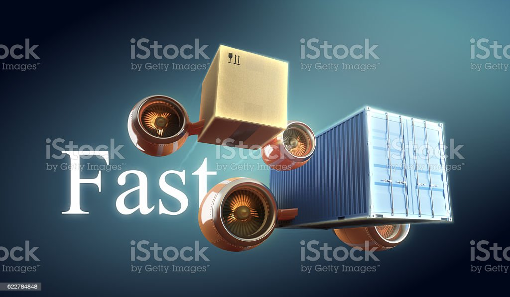 Fast box, crate trucking and container delivery with goods transportation. vector art illustration