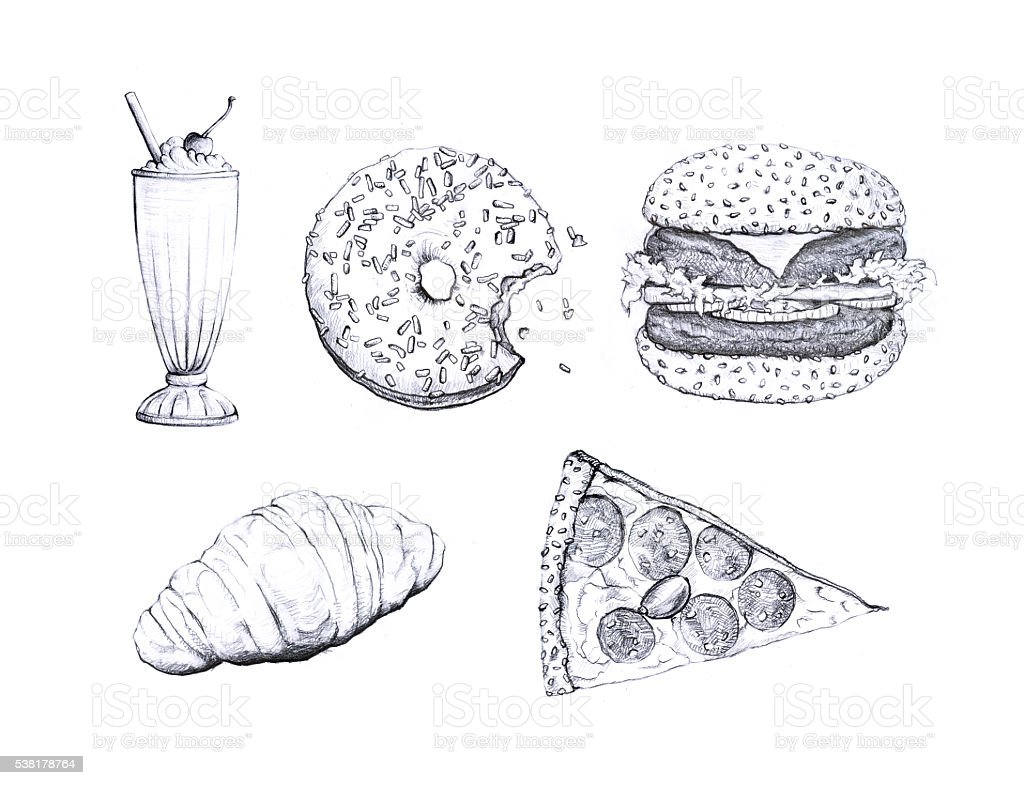 Fast food drawings stock photo