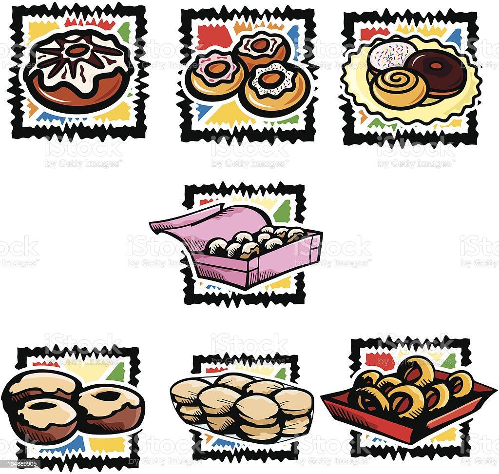 Fast Food I: Doughnuts (Vector) royalty-free stock vector art
