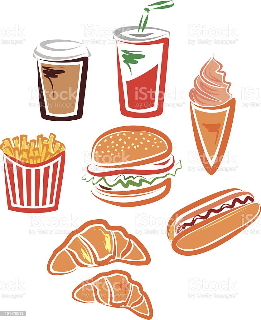 Fast food icons royalty-free stock vector art