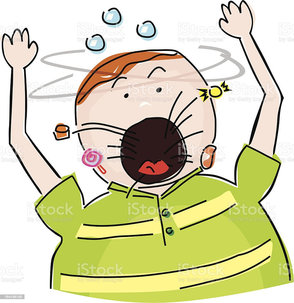 Fat boy vomiting royalty-free stock vector art