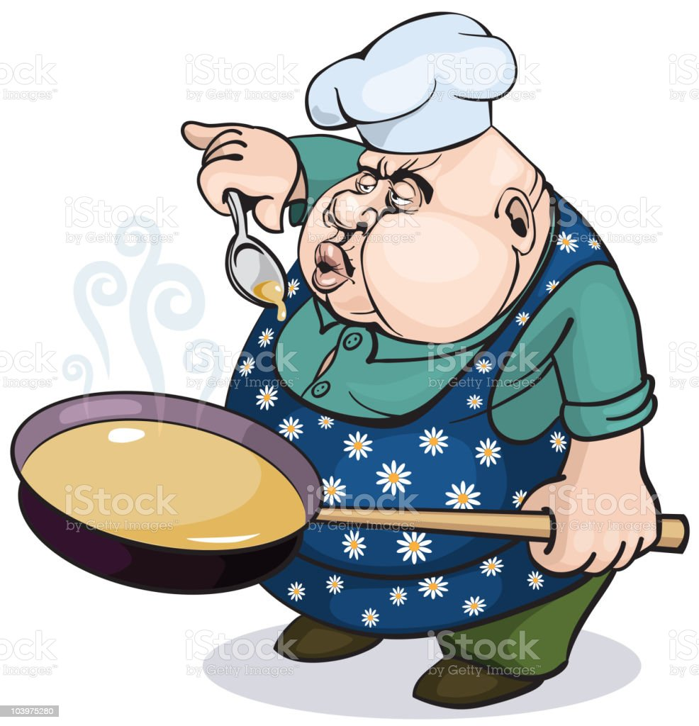 Fat cook with a pan royalty-free stock vector art