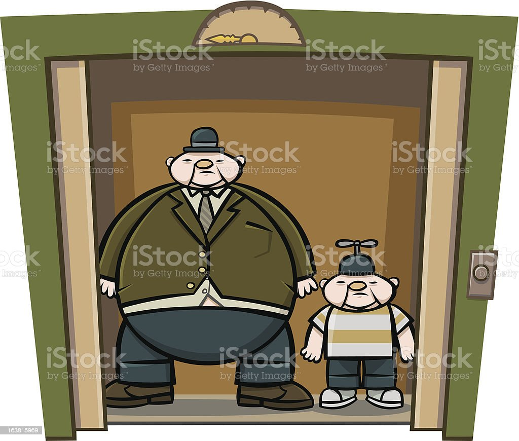 Fat Man and Boy Stand Inside Open Elevator royalty-free stock vector art
