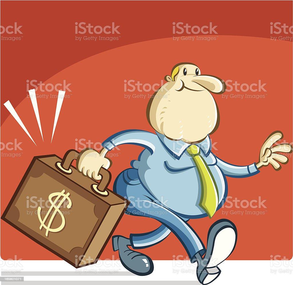 fat man carrying the money vector art illustration
