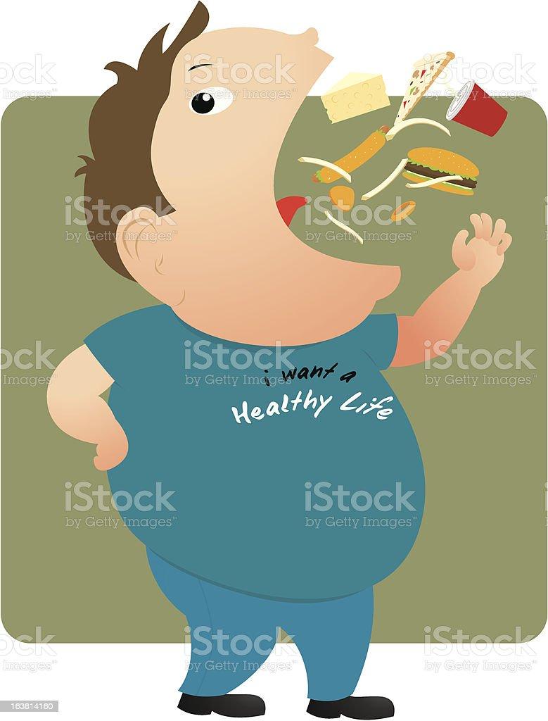 Fat man eating vector art illustration