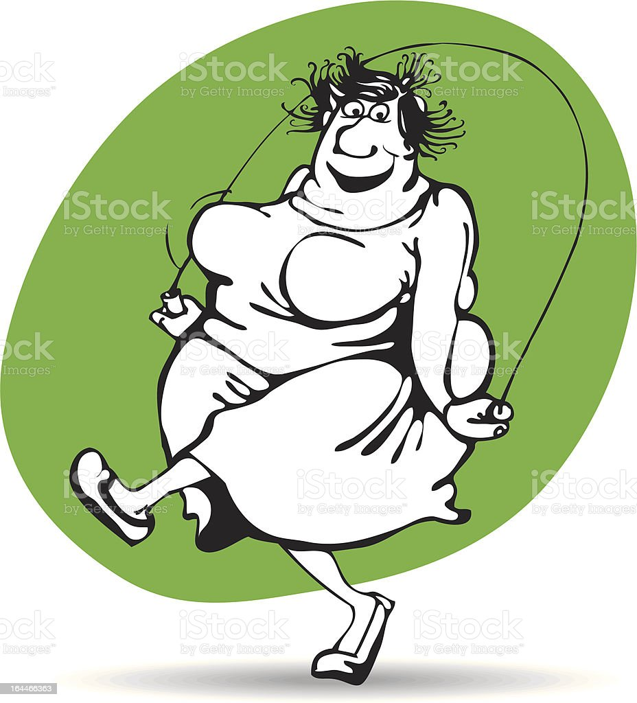 fat woman jumping with joy on the rope royalty-free stock vector art
