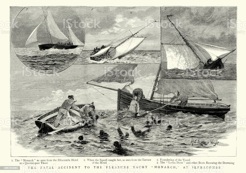 Fatal accident of the Pleasure Yacht Monarch at Ilfracombe 1887 vector art illustration