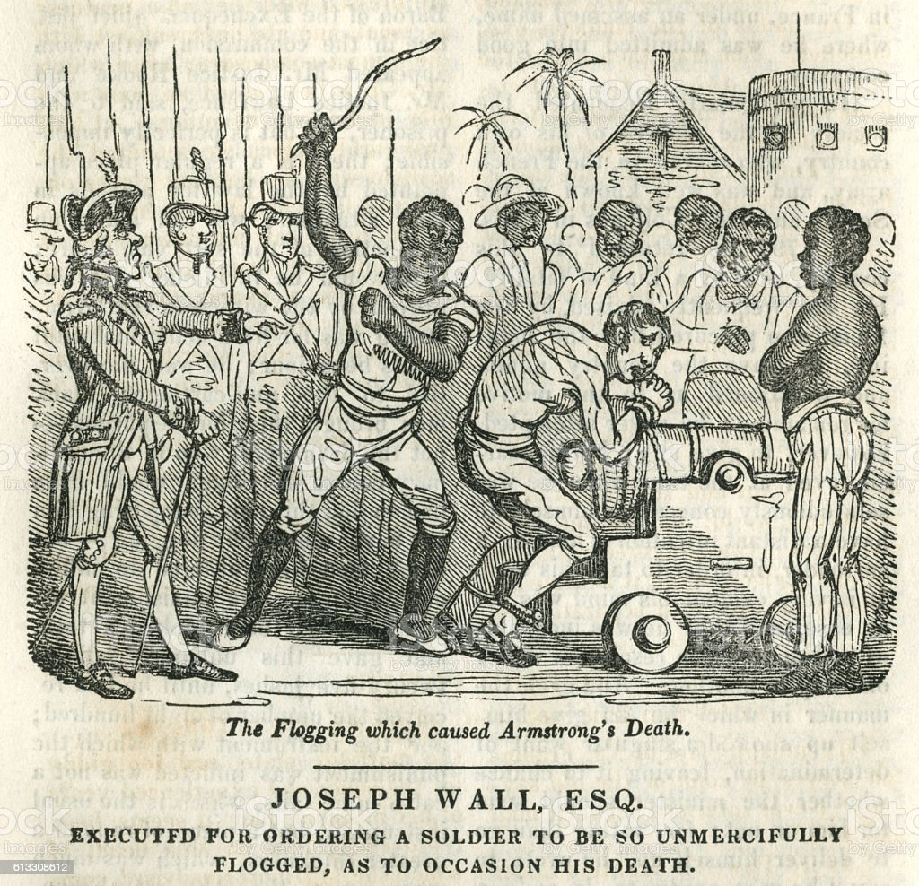 Fatal flogging of a British soldier in West Africa vector art illustration