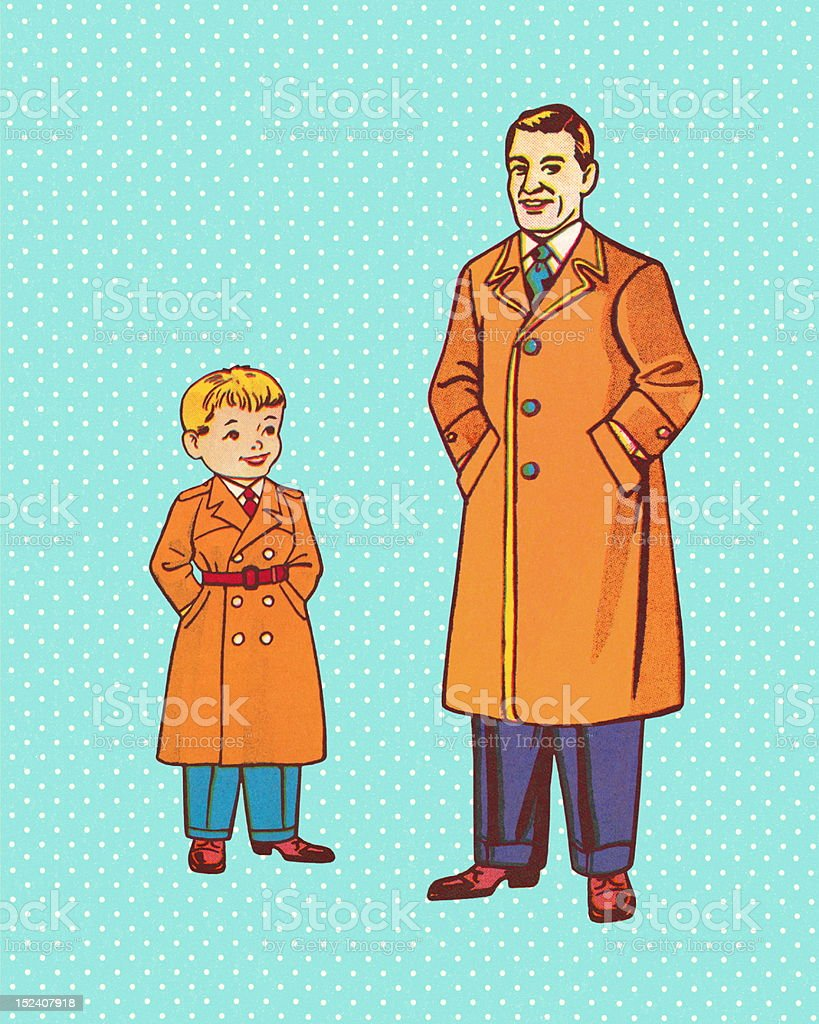 Father and Son in Trench Coats royalty-free stock vector art