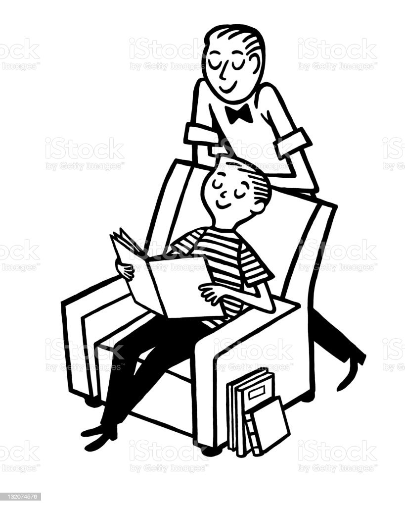 Father and Son Looking at Book royalty-free stock vector art