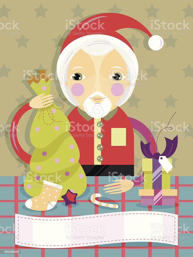 Father Noel distributing gifts of Christmas royalty-free stock vector art