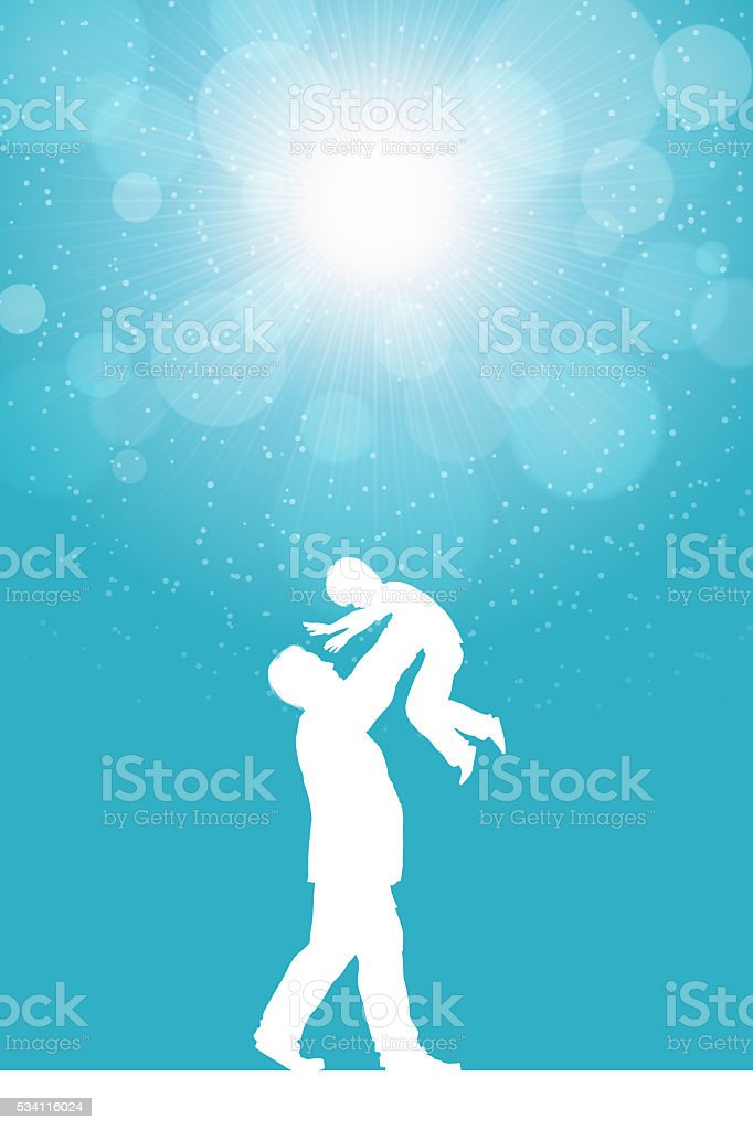 Father's Day background[Father and his son silhouette] vector art illustration