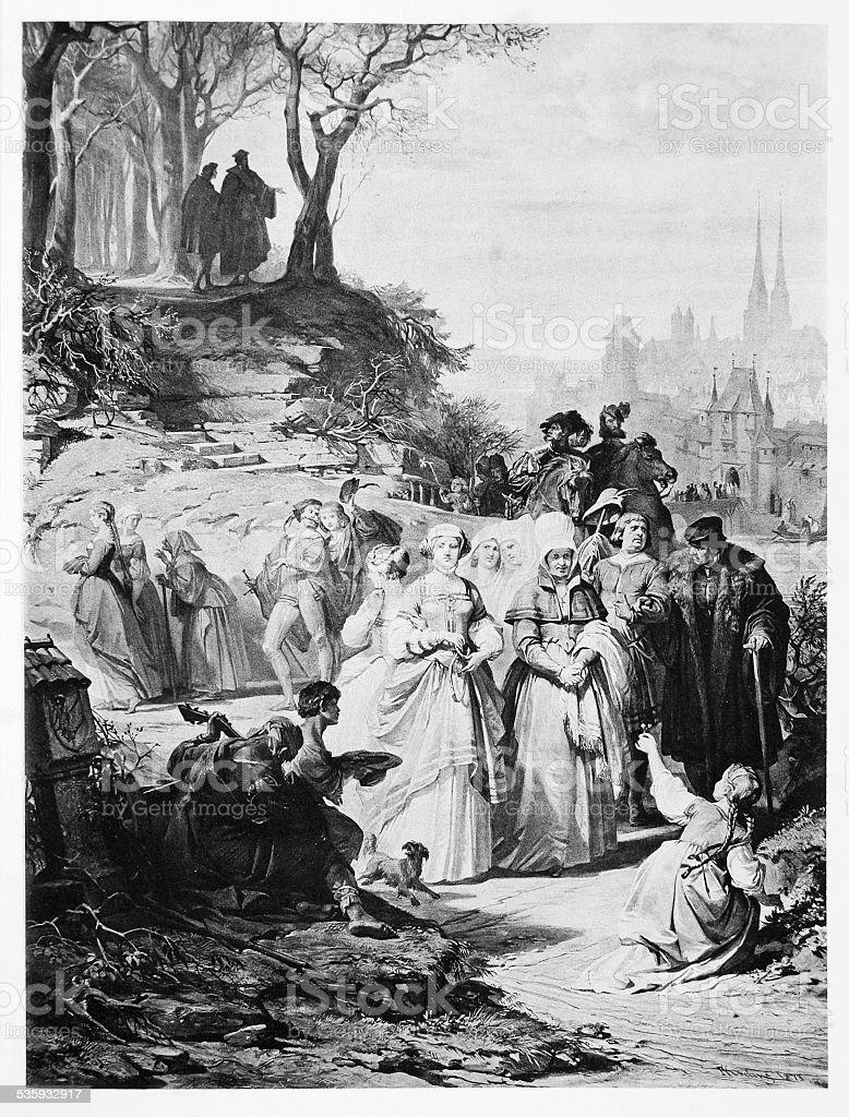 Faust Illustration: Villagers after Church mass vector art illustration