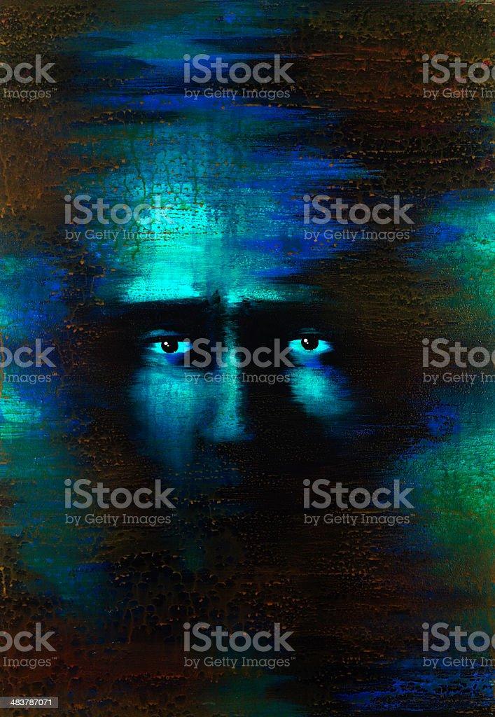fearful eyes vector art illustration