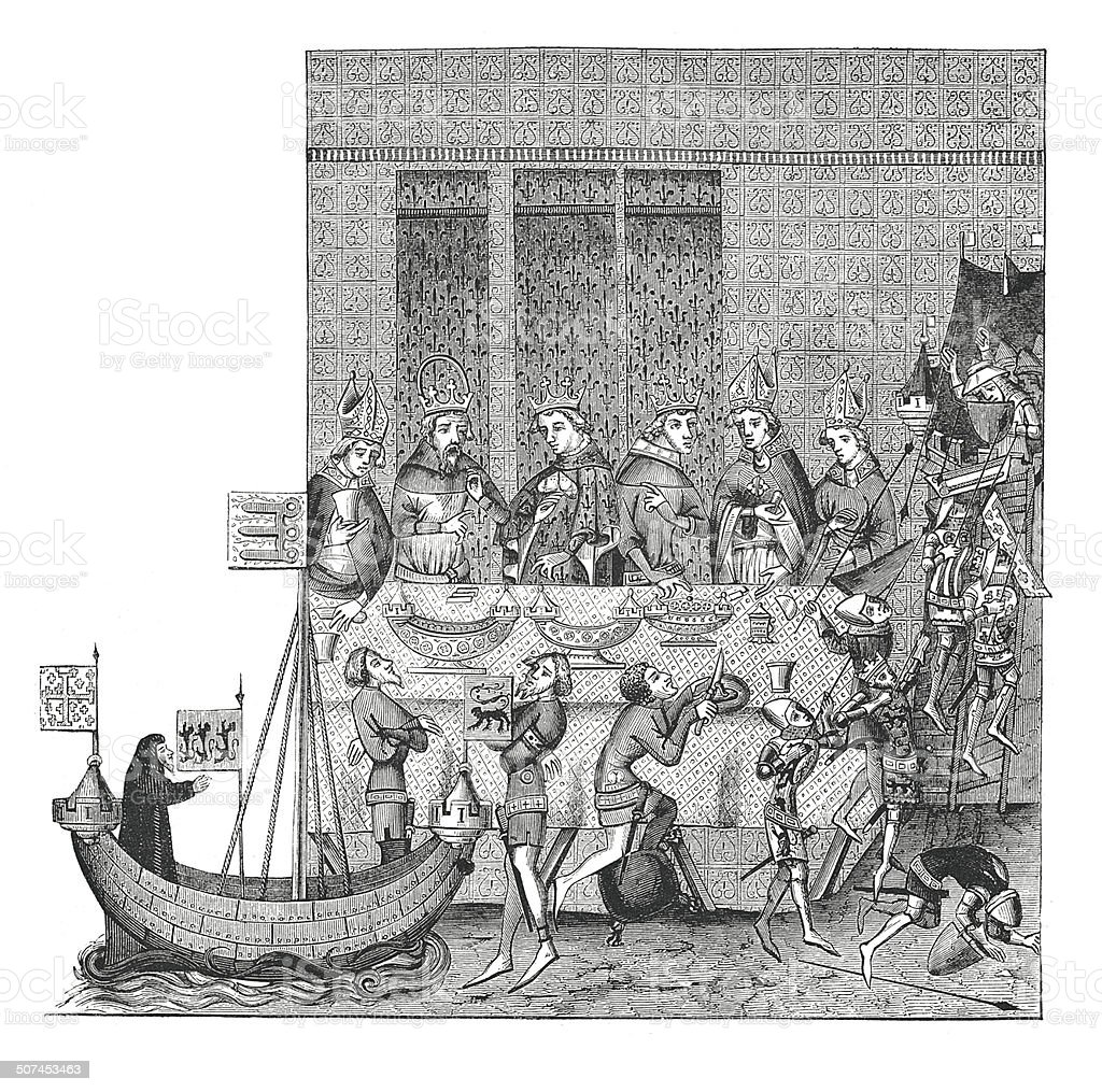 Feast with deserts (antique engraving) vector art illustration