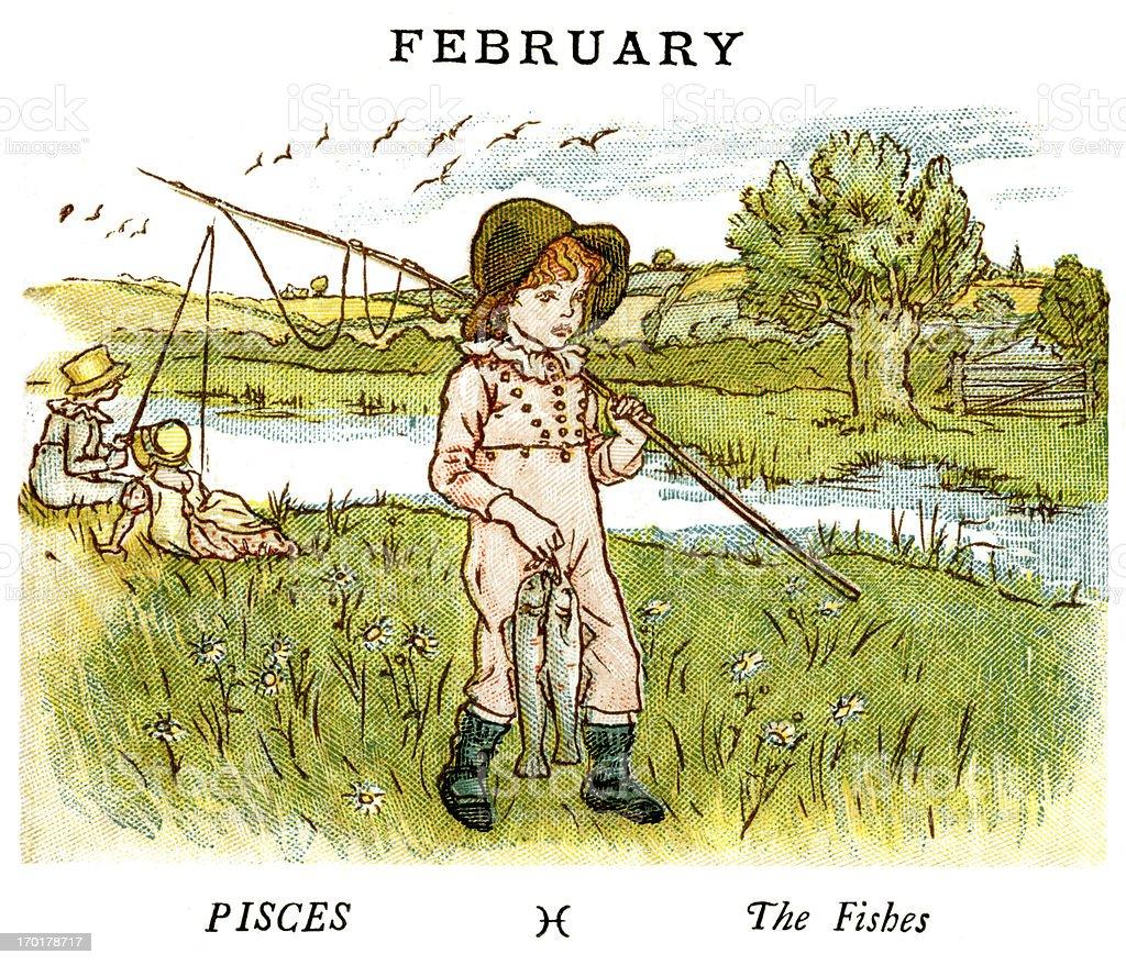 February - Kate Greenaway, 1884 vector art illustration